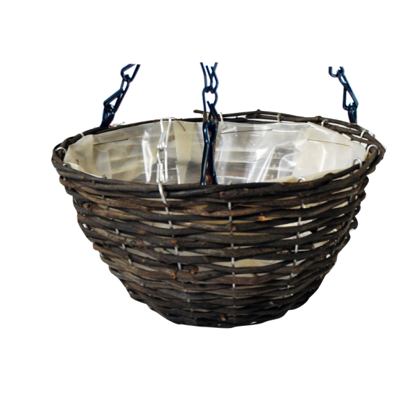 35cm Dark Rattan Hanging Basket Planter