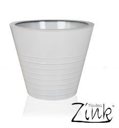 White Round Ridged Steel Planter - 35cm