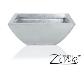 Silver Low Curved Zinc Galvanised Planter - W35cm