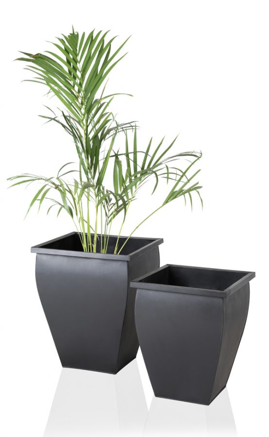 H35cm Black Flared Square Zinc Galvanised Planter - By Primrose®