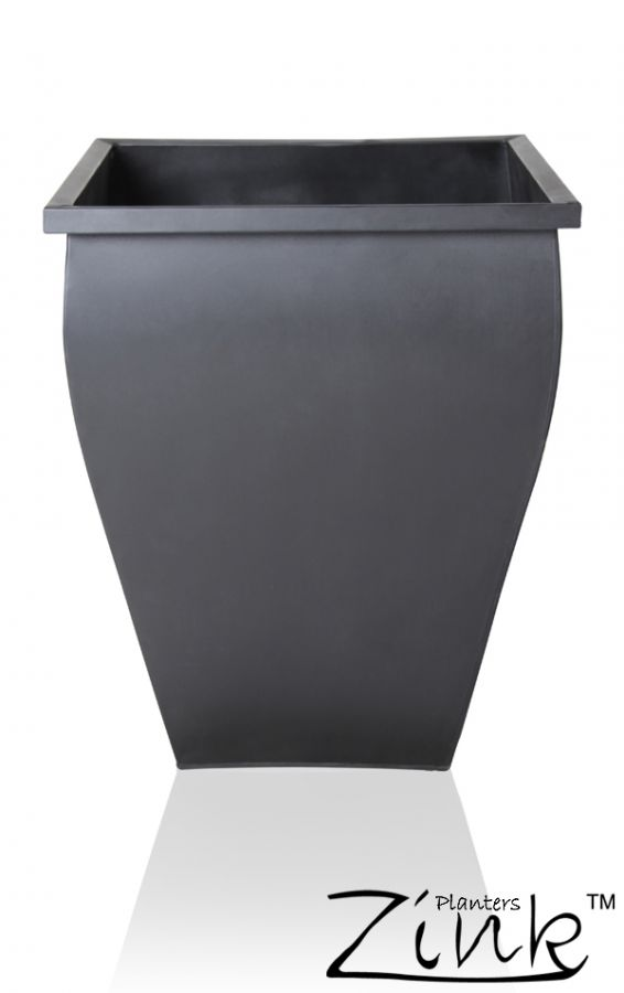 H35cm Black Flared Square Zinc Galvanised Planter - By Zink™