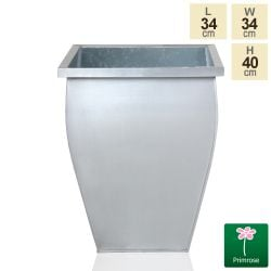H40cm Silver Flared Square Zinc Galvanised Planter - By Primrose™