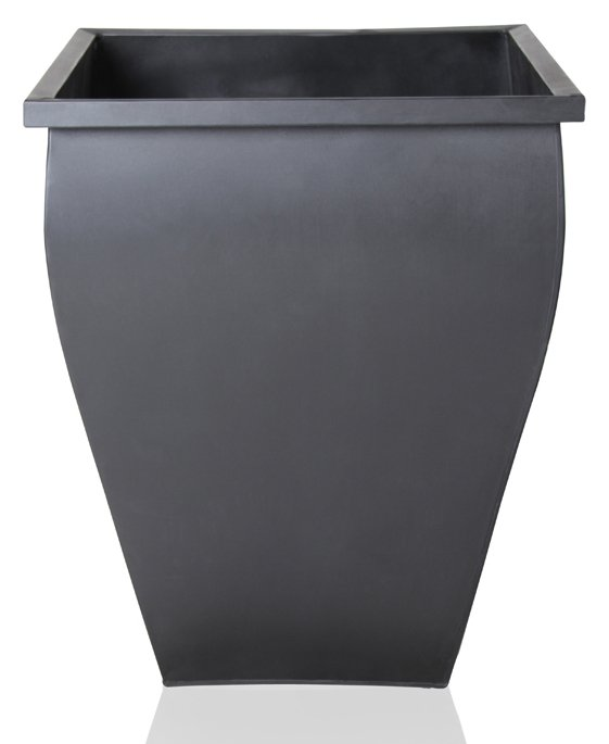 H40cm Black Flared Square Zinc Galvanised Planter - By Zink™