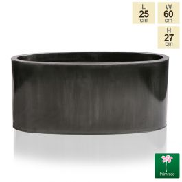 W60cm Platinum Low Oval Zinc Galvanised Planter - By Primrose™