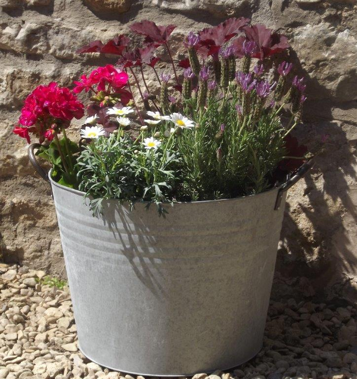 Simple Aged Zinc Bucket Planter