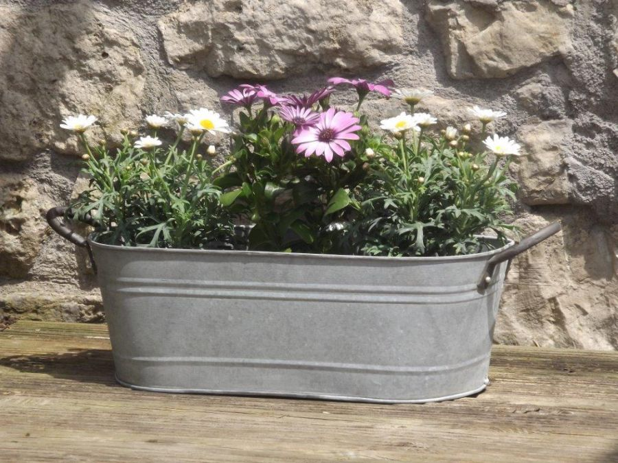 43cm Aged Zinc Trough Planter