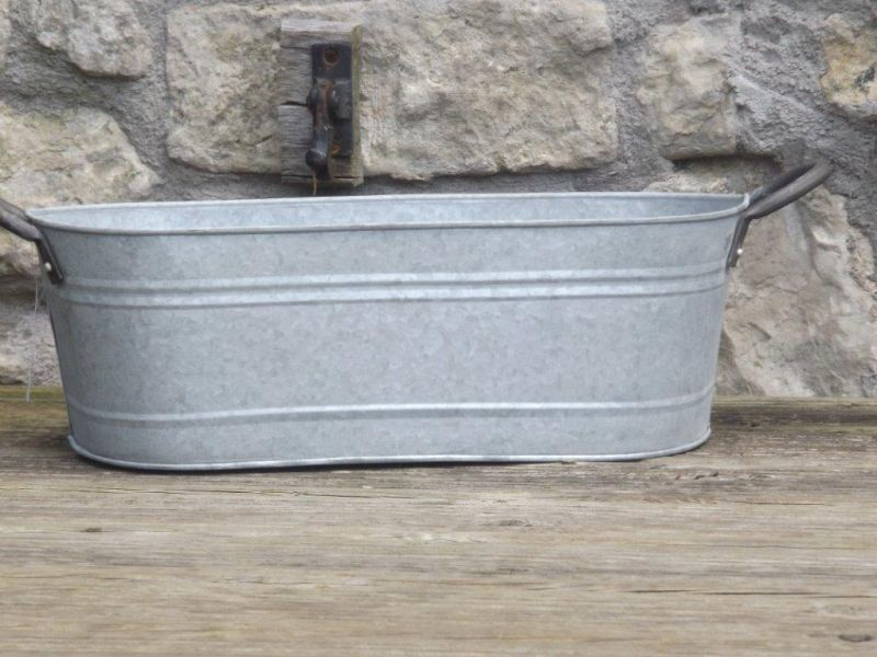 14cm Aged Zinc Trough Planter 163 14 45