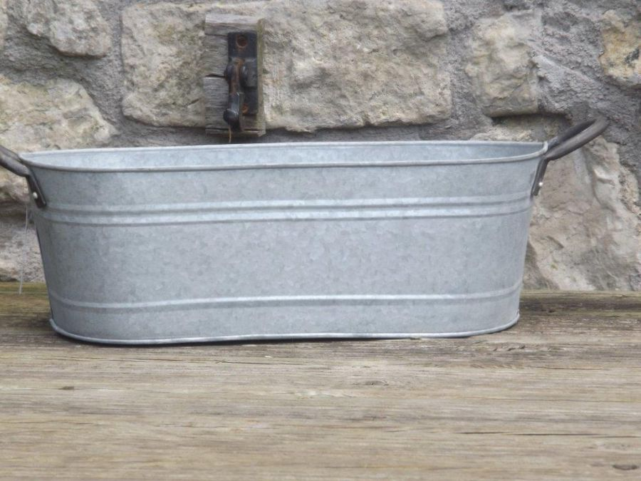 43cm Aged Zinc Trough Planter 163 14 45