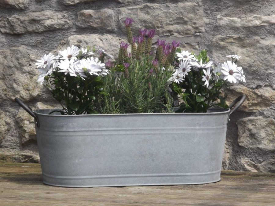 59cm Aged Zinc Trough Planter