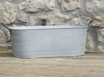 Aged Zinc Trough Planter - 19cm