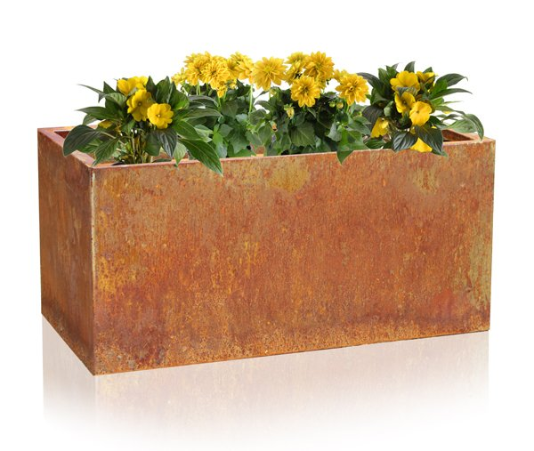 L75cm Deep Corten Steel Trough Planter