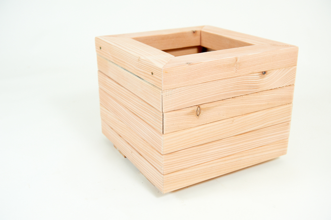 36cm Larch Wood Small Square Planter