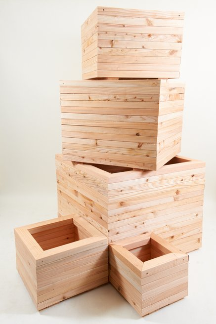 60cm Larch Wood Large Square Planter
