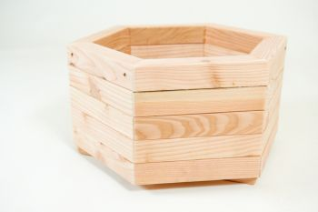 48cm Larch Wood Small Hexagonal Planter