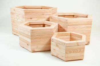 90cm Larch Wood Extra Large Hexagonal Planter