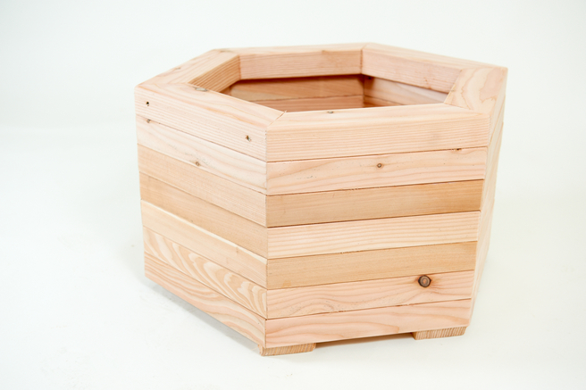 59cm Larch Hexagonal Planter 42L - Medium