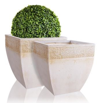 43cm Fibrecotta Laius Square Planters - Set of 2