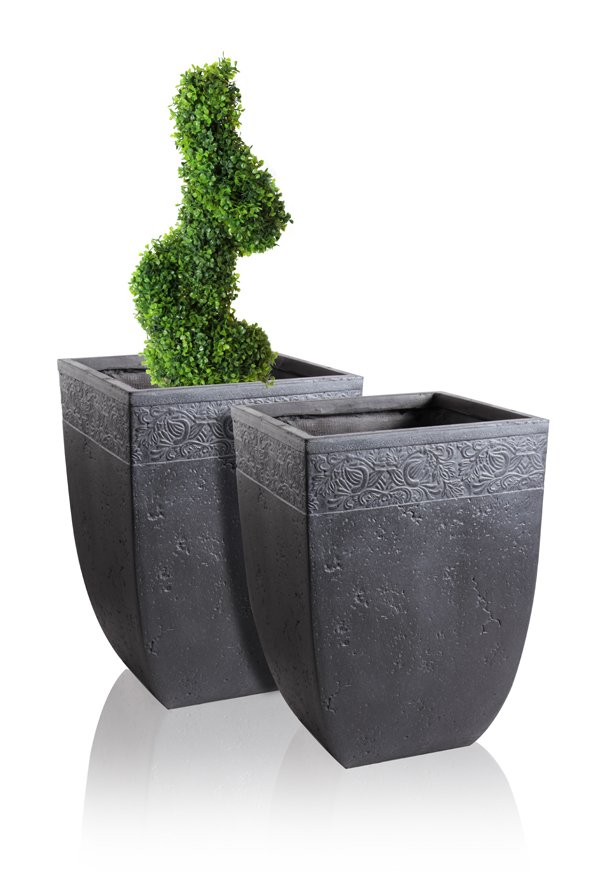 Charissa Fibrecotta Low Square Planter H51cm - Set of 2