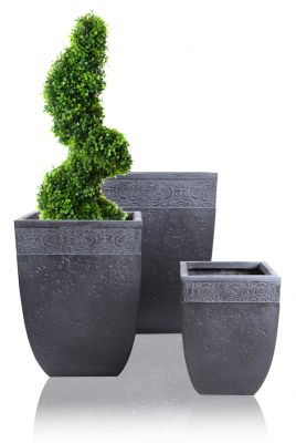 Charissa Fibrecotta Low Square Planter H29cm/H40cm/H51cm - Set of 3