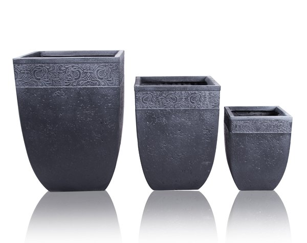 40cm Fibrecotta Charissa Low Square Planter - Set of 2