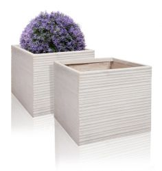 24cm Terracotta Fibrecotta Neus Cube Planter - Set of 2