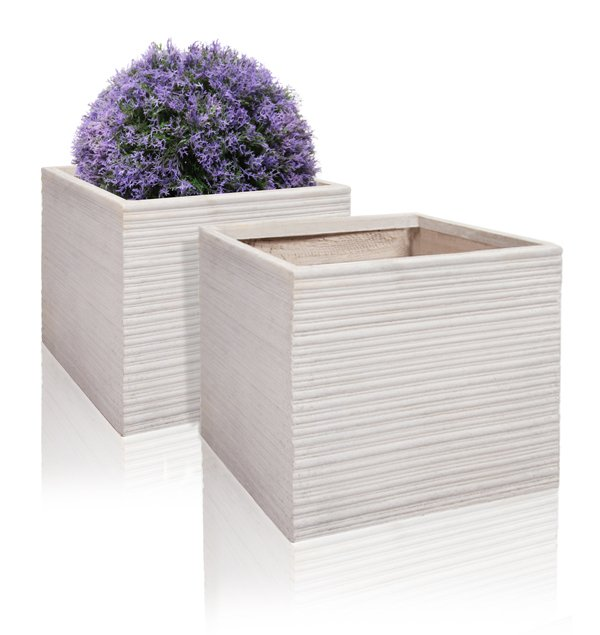 30cm Terracotta Fibrecotta Neus Cube Planter - Set of 2