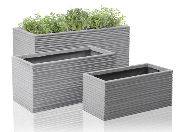 Bernis Fibrecotta Trough Planter - Mixed Set of 3 - L50cm/L60cm/L80cm