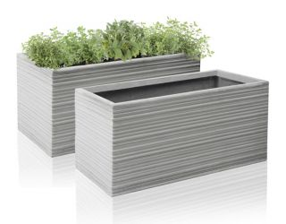 50cm Terracotta Fibrecotta Berniss Trough Planter - Set of 2
