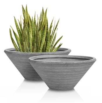 Dorian Fibrecotta Low Round Planters - Set of 2 - D50cm