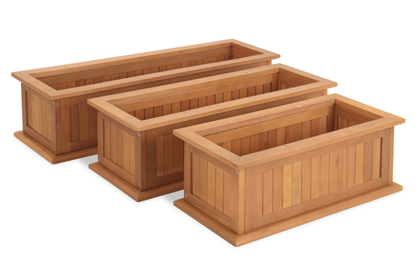 L90cm Hardwood Risemoor Trough Planter