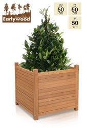 H50cm Hardwood Cromer Cube Planter with Feet