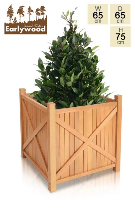 H75cm Hardwood Porth Cube Planter with Feet