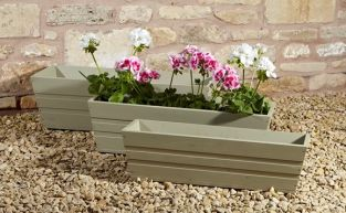 Large Pine Trough Planter in French Grey H21cm x L70cm