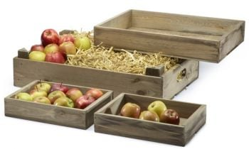 Stackable Apple Crates / Bushell Harvest - Set of 4 Boxes