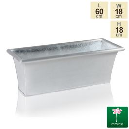 L60cm Zinc Galvanised Trough Planter - By Primrose™