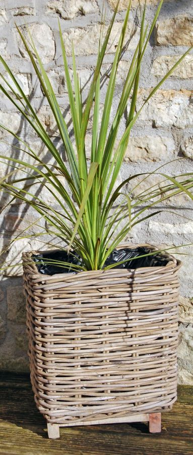 Small Square Willow Basket Planter with Wooden Feet - H40cm