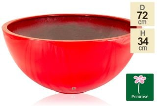 72cm Fibreglass Red High Gloss Low Bowl Planter - By Primrose®