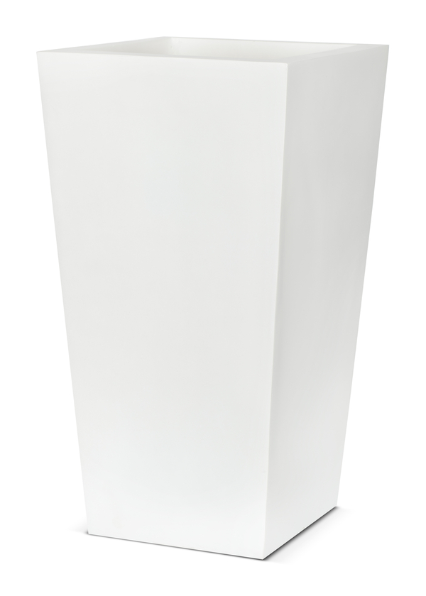 Capi LUX White Square Tapered Planter Small W24 x D24 x H46cm