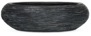 Capi Nature Ribbed Black Bowl Planter D49 x H14cm
