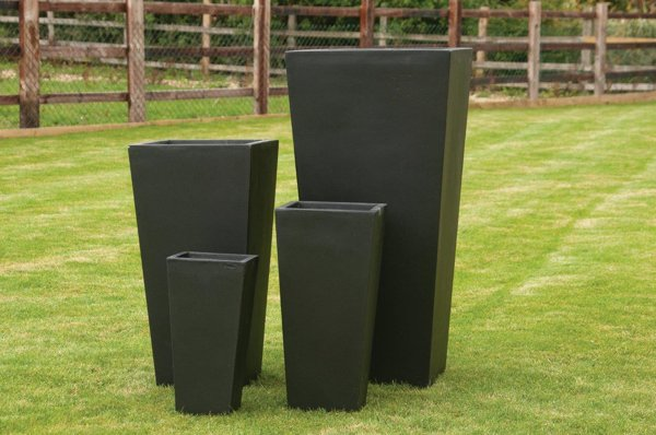 Foston Tapered Planter in Black H65cm x W32cm