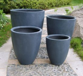 Mixed Set of 4 Whatton Pot Planters in Black