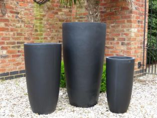 LONG BENNINGTON PLANTER IN BLACK H100CM X D55CM