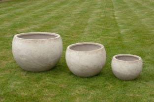 Barnstone Bowl Pot In Stone H23cm x D31cm