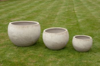 Mixed Set of 3 Barnstone Bowl Planters in Stone