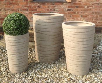 Mixed Set of 3 Waltham Textured Planters in Stone