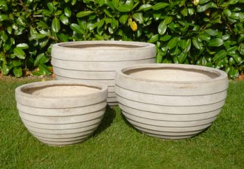 MIXED SET OF 3 CROXTON BOWL PLANTERS IN STONE