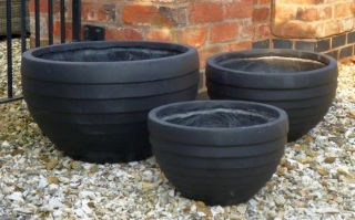 Mixed Set Of 3 Croxton Bowl Planters In Black