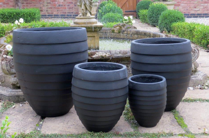 Sproxton Egg Pot Planter in Black D27cm x H30cm