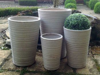 Mixed Set of 4 Harlaxton Tall Planters in Stone