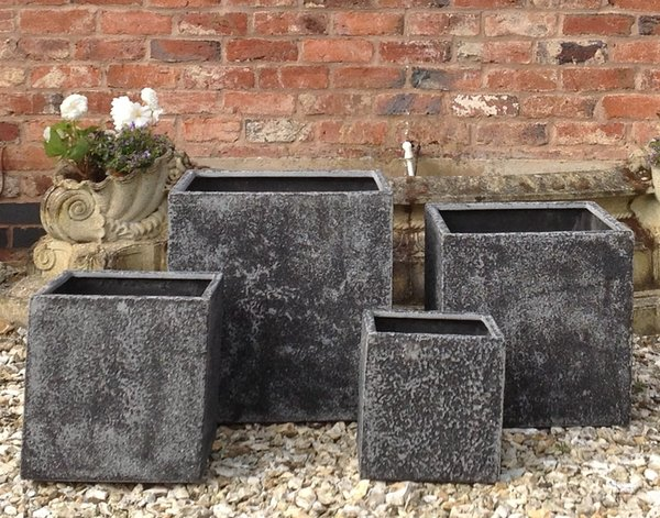 Mixed Set of 4 Thorpe Cube Planters in Dark Grey
